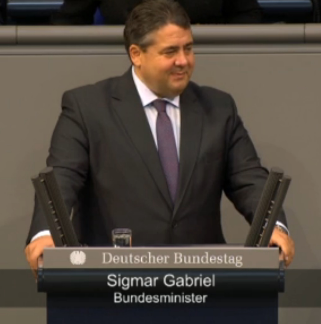 Sigmar Gabriel am 25.09.2014 im Bundestag