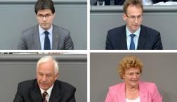 Die Rebellen Mark Helfrich, Detlef Seif, Cajus Caesar und Sylvia Pantel (v.l.o.n.r.u.) © Deutscher Bundestag/Achim Melde