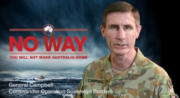 """Soll Bootsflüchtlinge davon abhalten, australischen Boden zu betreten: Kampagne der Regierung in Canberra. """"Foto: Australische Regierung/dpa (Urheber/Quelle/dpa"""")"""