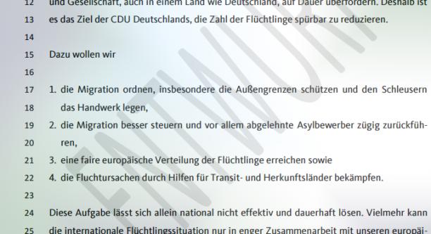 """Auszug aus dem Arbeitsgruppen-Entwurf für das CDU-Präsidium """"2 Eckpunkte für die Integration von Schutzsuchenden"""""""